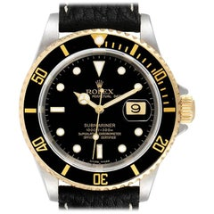 Rolex Submariner Black Dial Bezel Steel Yellow Gold Mens Watch 16613