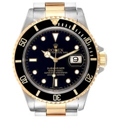 Rolex Submariner Black Dial Bezel Steel Yellow Gold Men's Watch 16613