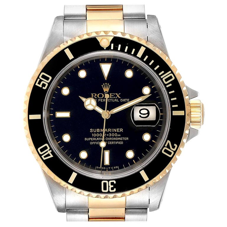 Rolex Submariner Black Dial Bezel Steel Yellow Gold Men's Watch 16613 For Sale