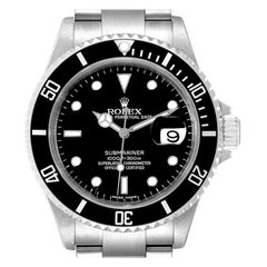Rolex Submariner Black Dial Stainless Steel Mens Watch 16610 Box Card