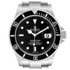 Rolex Submariner Black Dial Stainless Steel Mens Watch 16610 Box Papers