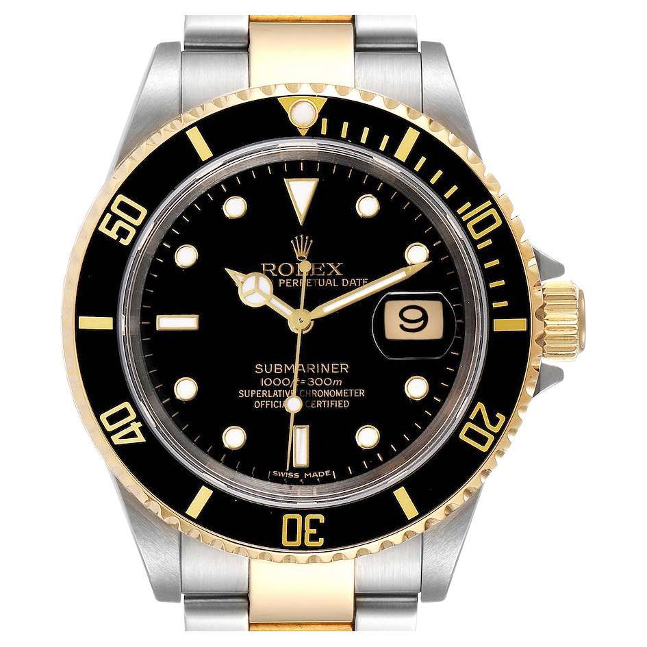 Rolex Submariner Black Dial Steel Yellow Gold Mens Watch 16613 Box Papers