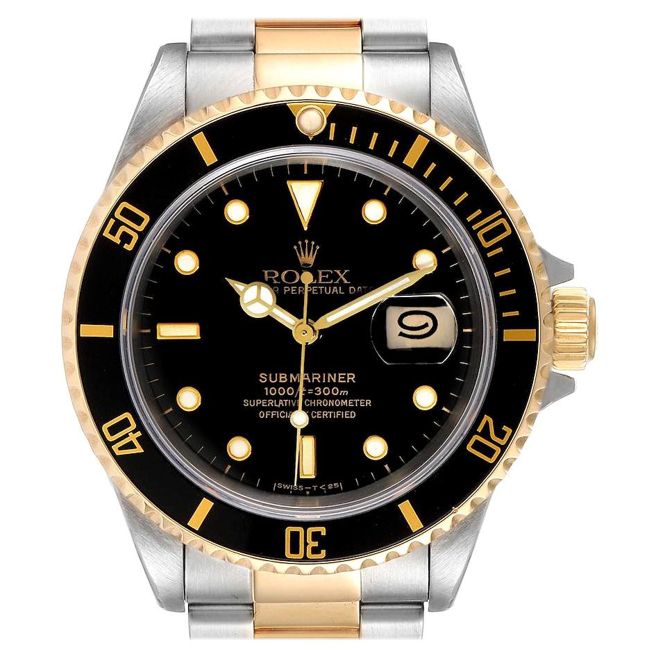 Rolex Submariner Black Dial Steel Yellow Gold Mens Watch 16613