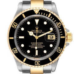 Rolex Submariner Black Dial Steel Yellow Gold Mens Watch 16613 NOS Box Papers
