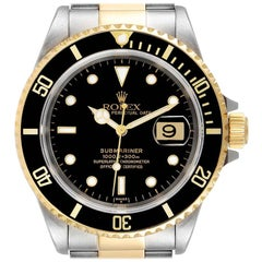 Rolex Submariner Black Dial Steel Yellow Gold Watch 16613 Box Service Card