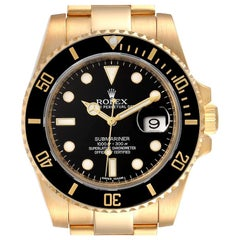 Rolex Submariner Black Dial Yellow Gold Men's Watch 116618 Box Card