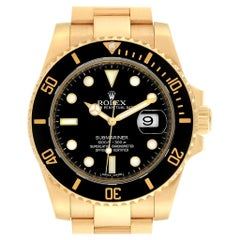 Rolex Submariner Black Dial Yellow Gold Men's Watch 116618 Box