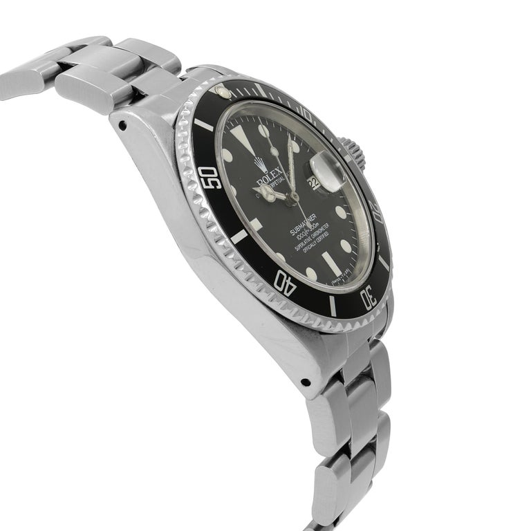 Men's Rolex Submariner Black Matte Patina Dial Steel Automatic Men's 1983 Watch 16800 For Sale