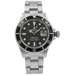 Rolex Submariner Black Matte Patina Dial Steel Automatic Men's 1983 Watch 16800