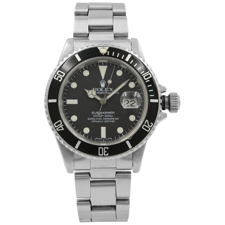 Rolex Submariner Black Matte Patina Dial Steel Automatic Men's 1983 Watch 16800 For Sale