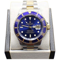 Rolex Submariner Blue 16613 18 Karat Gold and Stainless Steel Box and Papers