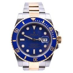 Rolex Submariner Blue Ceramic Submariner Two-Tone 18k Gold Watch Ref 116613LB