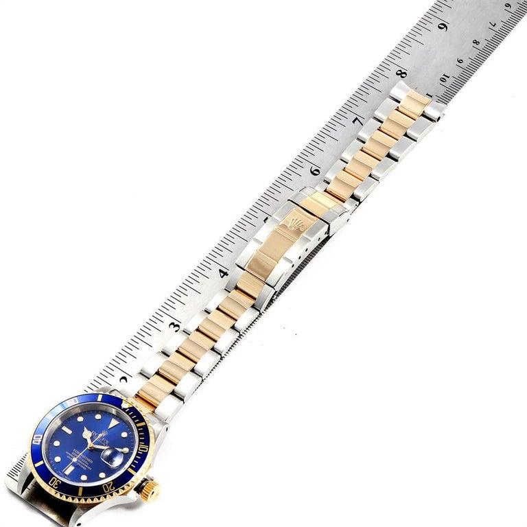 Rolex Submariner Blue Dial Bezel Steel Yellow Gold Men's Watch 16613 For Sale 7