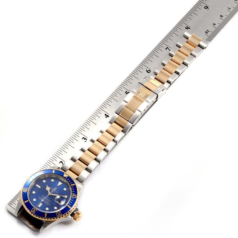 Rolex Submariner Blue Dial Bezel Steel Yellow Gold Men's Watch 16613 6