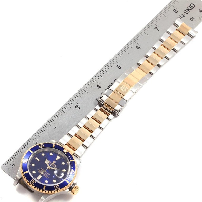 Rolex Submariner Blue Dial Bezel Steel Yellow Gold Men's Watch 16613 For Sale 8