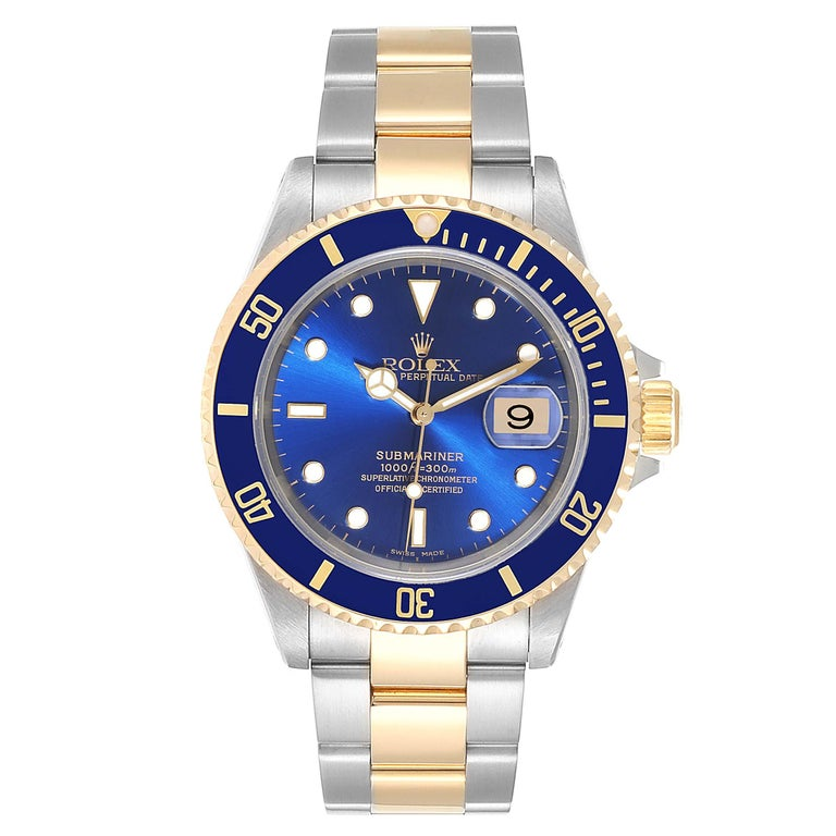 Rolex Submariner Blue Dial Bezel Steel Yellow Gold Mens Watch 16613. Officially certified chronometer self-winding movement. Stainless steel and 18k yellow gold case 40 mm in diameter. Rolex logo on a crown. Blue insert special time-lapse