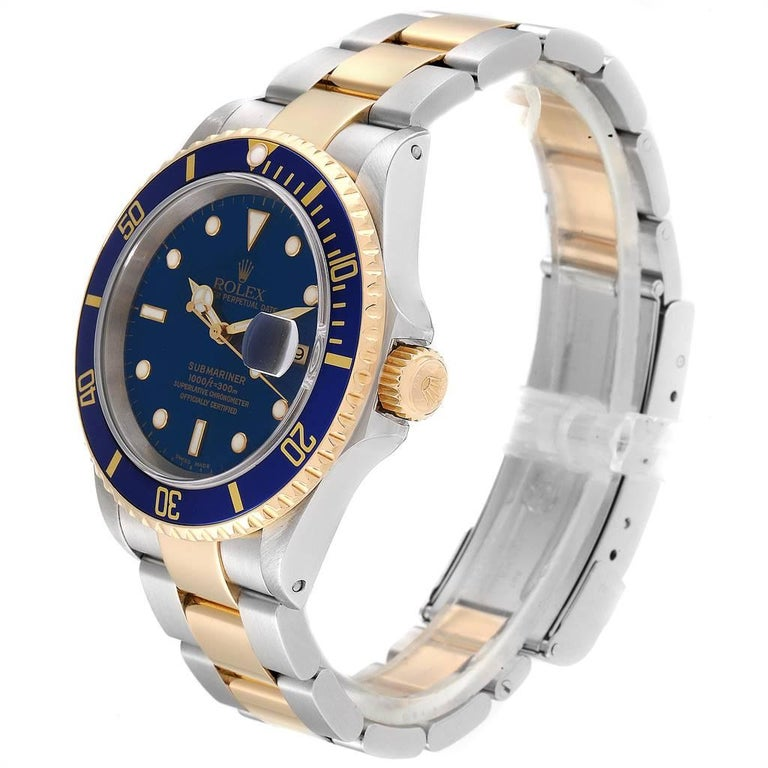 Rolex Submariner Blue Dial Bezel Steel Yellow Gold Men's Watch 16613 For Sale 1