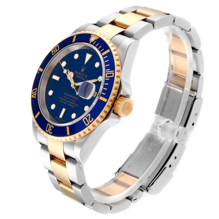 Men's Rolex Submariner Blue Dial Bezel Steel Yellow Gold Men's Watch 16613