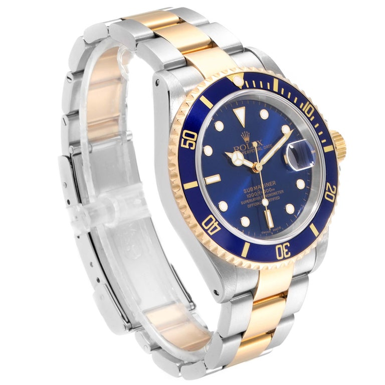 Rolex Submariner Blue Dial Bezel Steel Yellow Gold Men's Watch 16613 1
