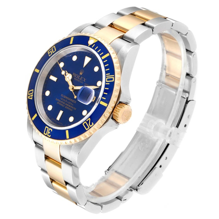 Rolex Submariner Blue Dial Bezel Steel Yellow Gold Men's Watch 16613 For Sale 1