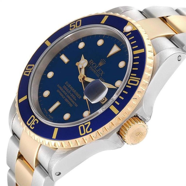 Rolex Submariner Blue Dial Bezel Steel Yellow Gold Men's Watch 16613 For Sale 2