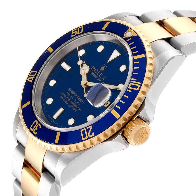 Rolex Submariner Blue Dial Bezel Steel Yellow Gold Men's Watch 16613 1