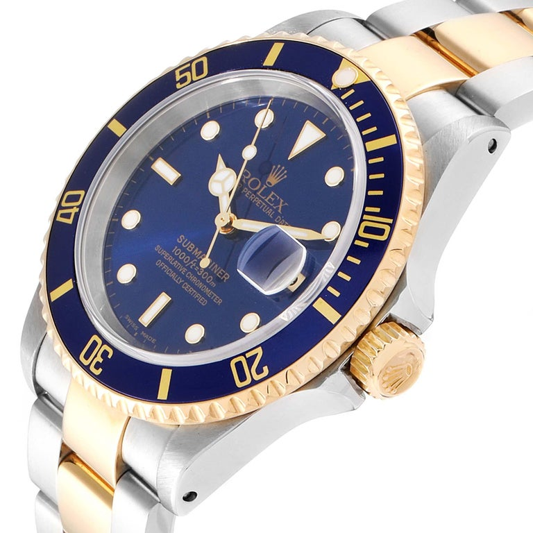 Rolex Submariner Blue Dial Bezel Steel Yellow Gold Men's Watch 16613 2