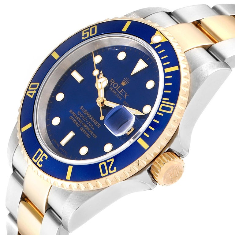 Rolex Submariner Blue Dial Bezel Steel Yellow Gold Men's Watch 16613 For Sale 2