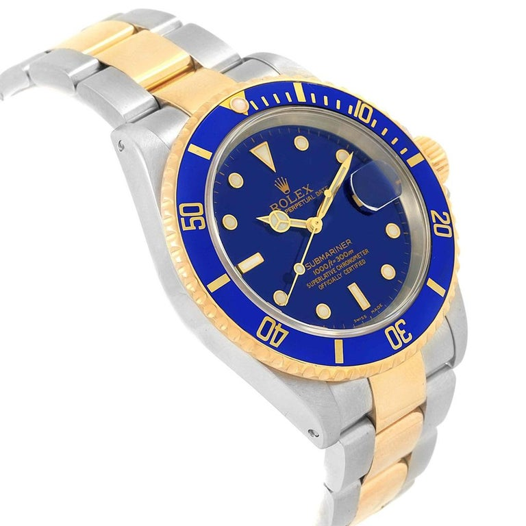 Rolex Submariner Blue Dial Bezel Steel Yellow Gold Men's Watch 16613 For Sale 4