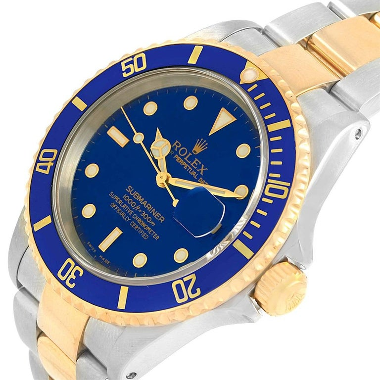 Rolex Submariner Blue Dial Bezel Steel Yellow Gold Men's Watch 16613 For Sale 5