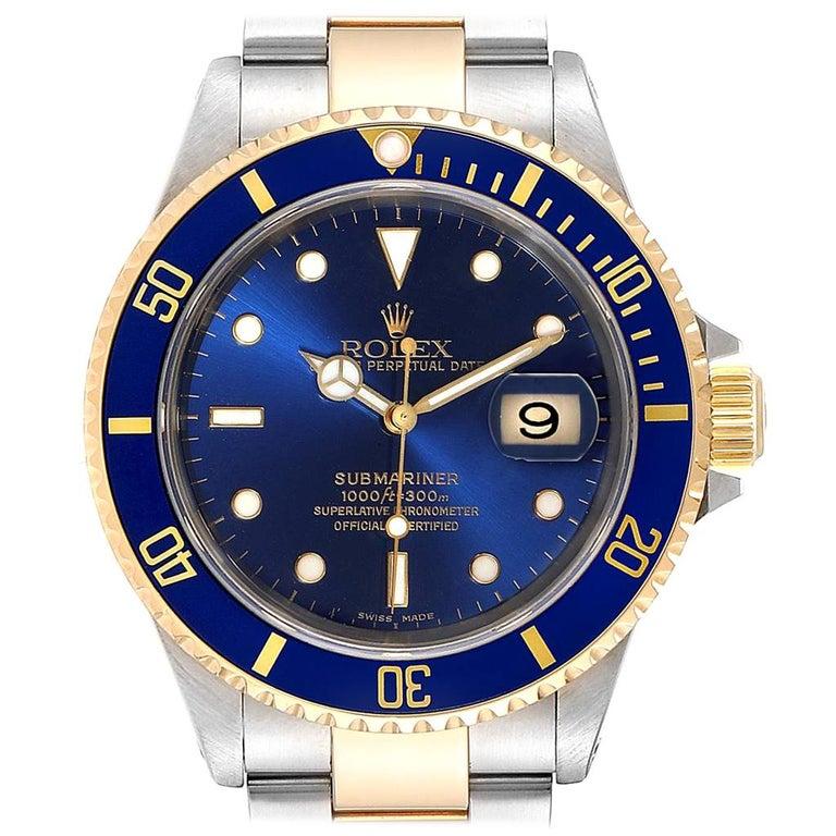Rolex Submariner Blue Dial Bezel Steel Yellow Gold Men's Watch 16613 For Sale