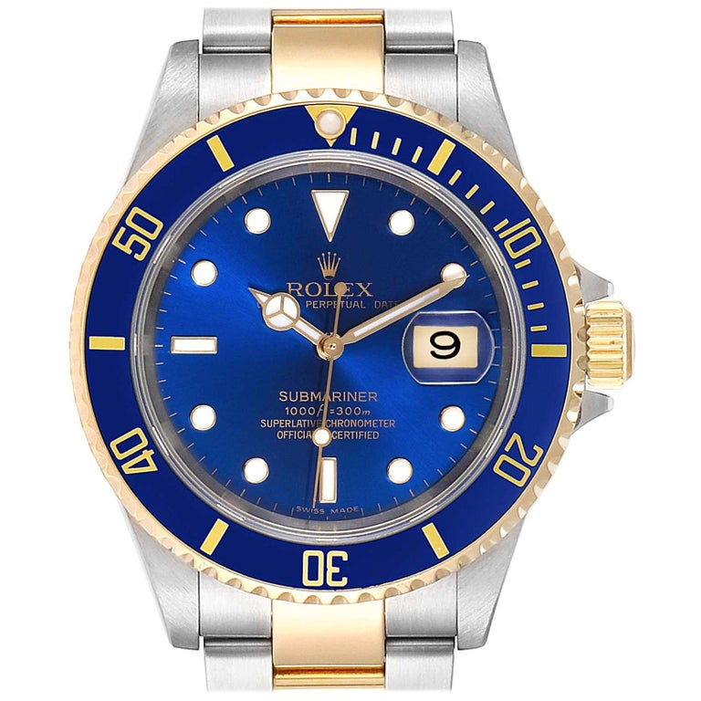 Rolex Submariner Blue Dial Bezel Steel Yellow Gold Men's Watch 16613 For Sale