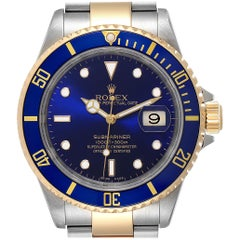 Rolex Submariner Blue Dial Bezel Steel Yellow Gold Men's Watch 16613