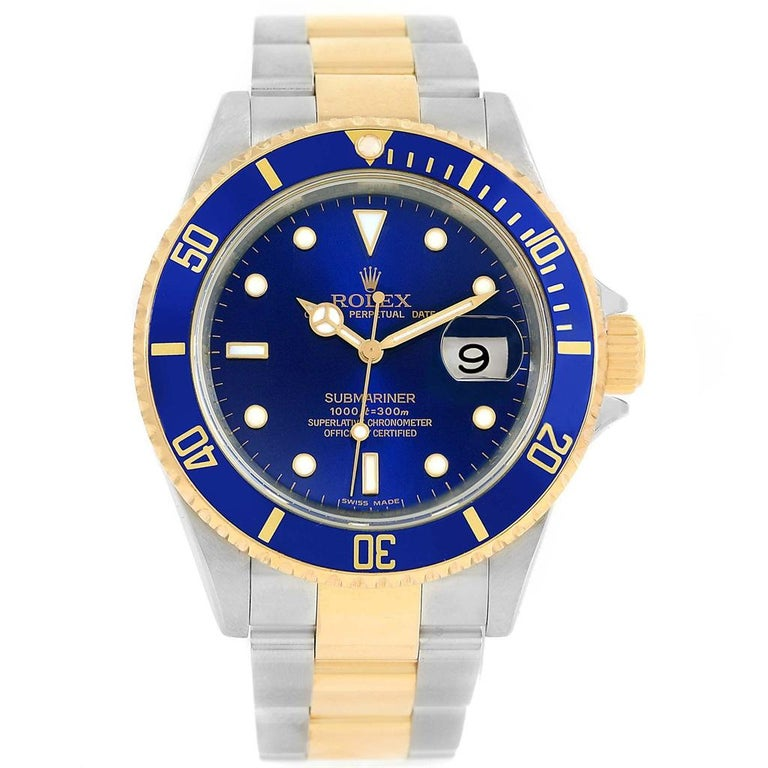 d87a5a946573 Rolex Submariner Blue Dial Steel 18 Karat Yellow Gold Men s Watch 16613 Box  For Sale 3