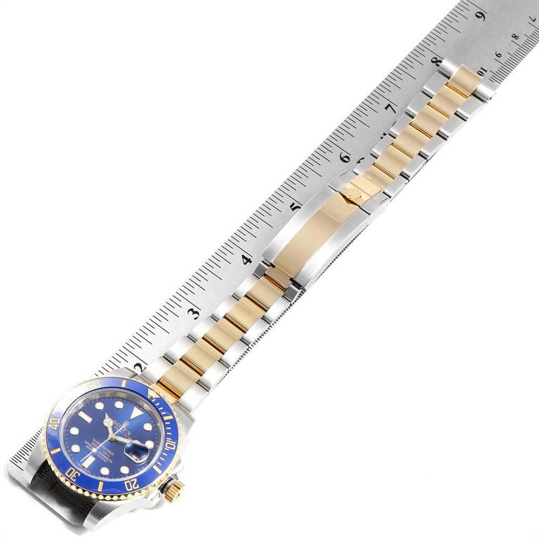 Rolex Submariner Blue Dial Steel Yellow Gold Men's Watch 116613 Box Card For Sale 6