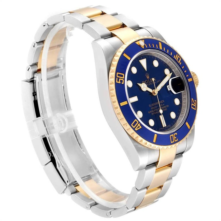 Rolex Submariner Blue Dial Steel Yellow Gold Men's Watch 116613 Box Card In Excellent Condition For Sale In Atlanta, GA