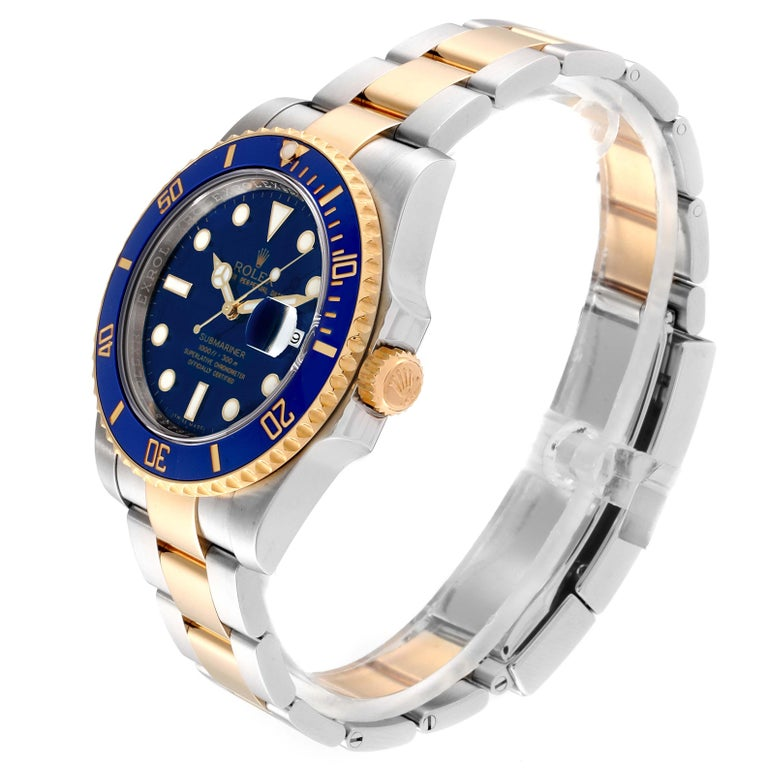 Rolex Submariner Blue Dial Steel Yellow Gold Men's Watch 116613 Box Card In Excellent Condition In Atlanta, GA