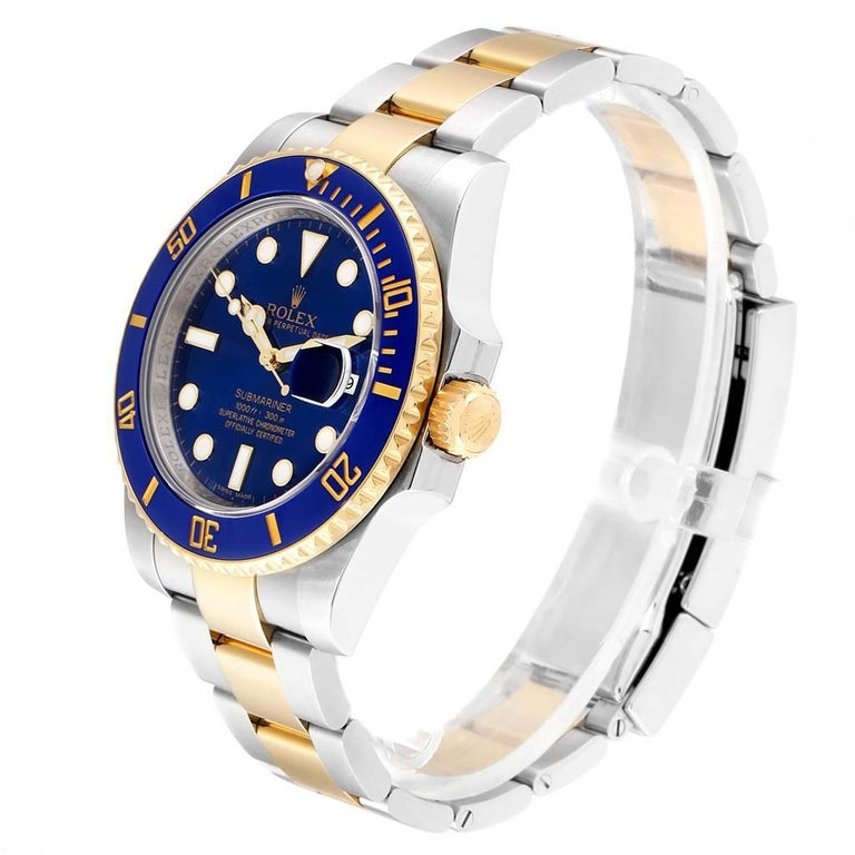 Men's Rolex Submariner Blue Dial Steel Yellow Gold Men's Watch 116613 Box Card For Sale