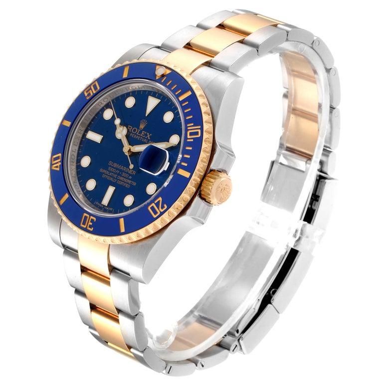 Rolex Submariner Blue Dial Steel Yellow Gold Men's Watch 116613 Box Card 1