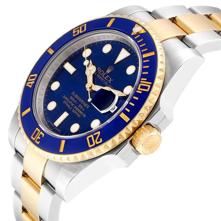 Rolex Submariner Blue Dial Steel Yellow Gold Men's Watch 116613 Box Card For Sale 1