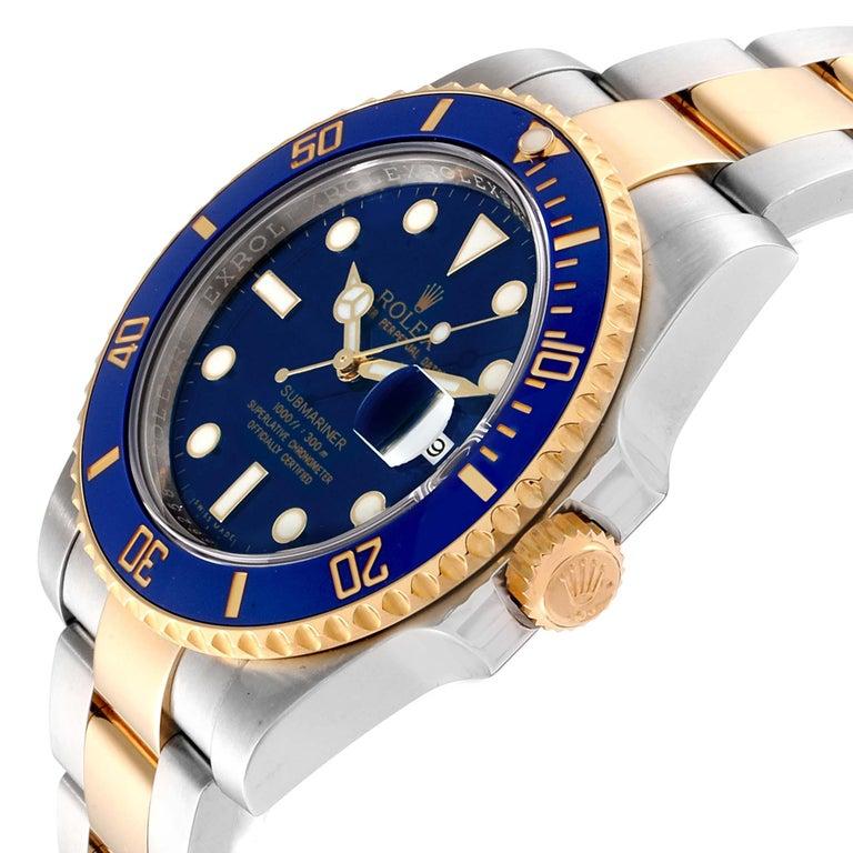 Rolex Submariner Blue Dial Steel Yellow Gold Men's Watch 116613 Box Card 2