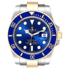 Rolex Submariner Blue Dial Steel Yellow Gold Men's Watch 116613 Box Card