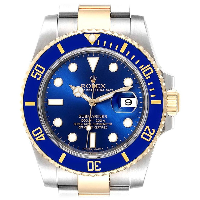 Rolex Submariner Blue Dial Steel Yellow Gold Men's Watch 116613 Box Card For Sale