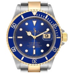 Rolex Submariner Blue Dial Steel Yellow Gold Mens Watch 16613 Box Card