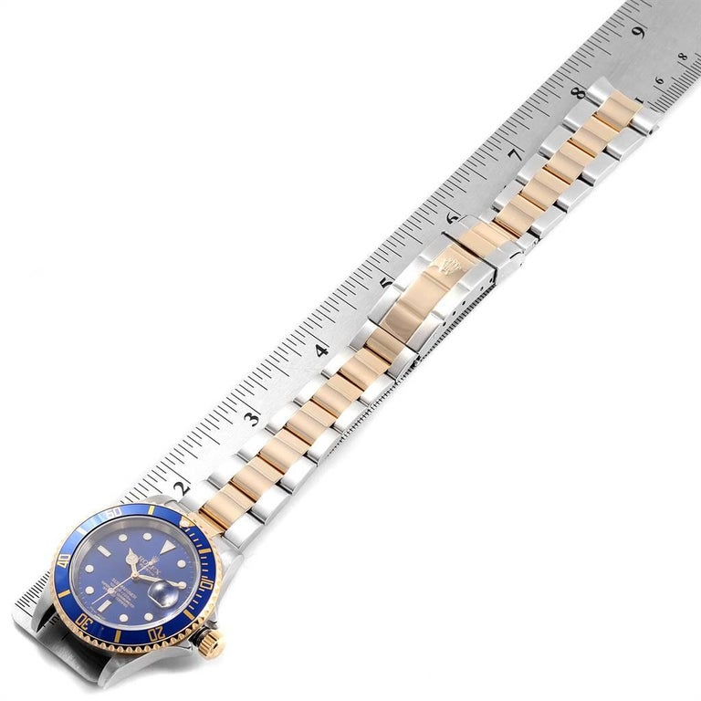 Rolex Submariner Blue Dial Steel Yellow Gold Men's Watch 16613 Box Papers For Sale 6