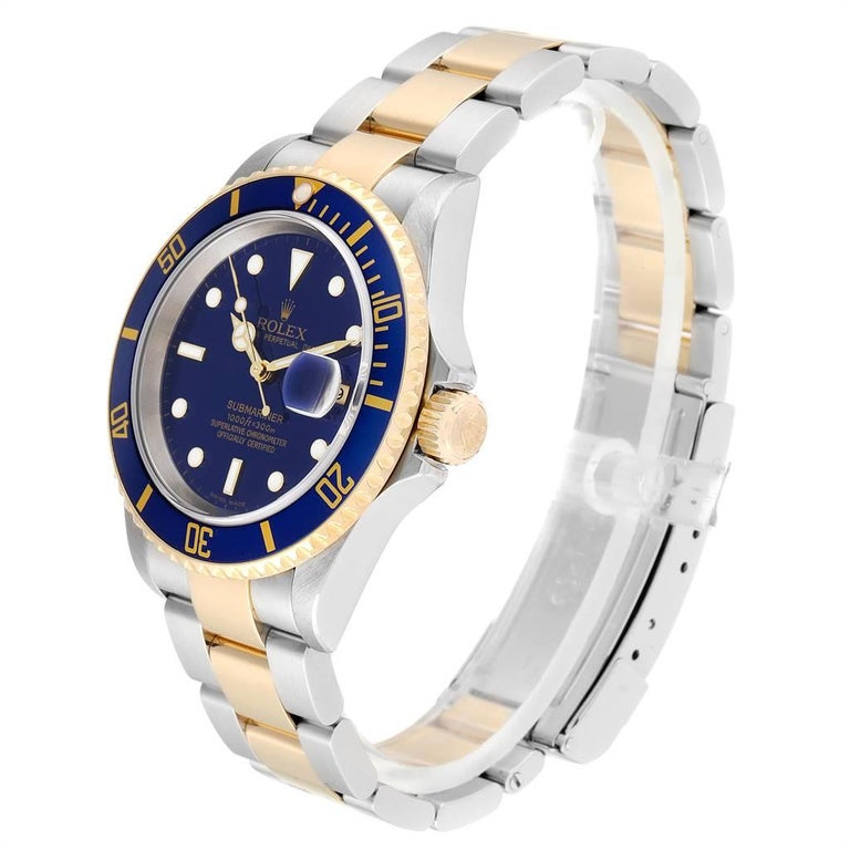 Men's Rolex Submariner Blue Dial Steel Yellow Gold Men's Watch 16613 Box Papers For Sale
