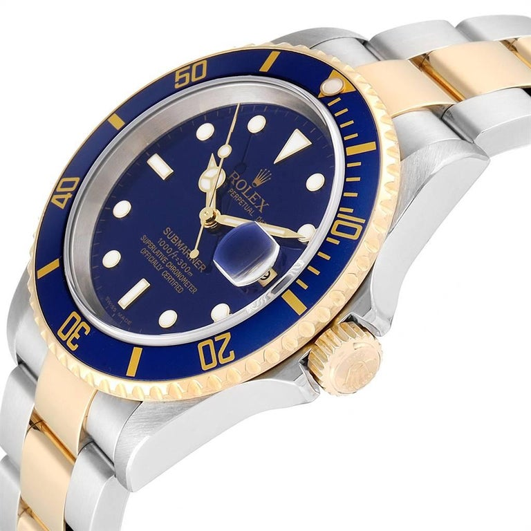 Rolex Submariner Blue Dial Steel Yellow Gold Men's Watch 16613 Box Papers For Sale 1