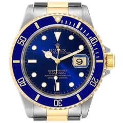 Rolex Submariner Blue Dial Steel Yellow Gold Mens Watch 16613 Box Papers