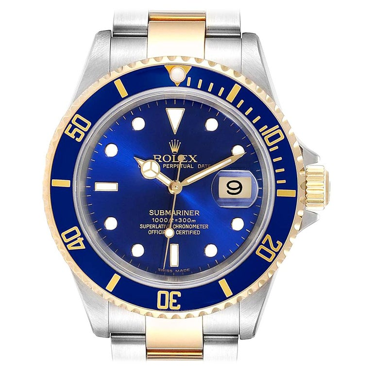Rolex Submariner Blue Dial Steel Yellow Gold Men's Watch 16613 Box Papers For Sale