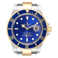 Rolex Submariner Blue Dial Steel Yellow Gold Men's Watch 16613 Box Papers